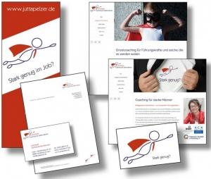 Die Markenbildnerei, München: Logo, CD, Geschäftsausstattung, Website Jutta Pelzer, Coaching für starke Männer