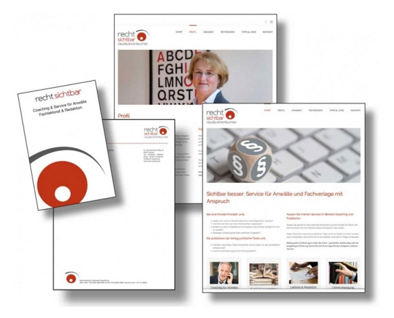 Die Markenbildnerei, München: Logo, Website, Geschäftsausstattung Recht sichtbar, Claudia Ehrenfeuchter